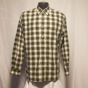 Timberland Mens Dress Shirt Plaid Large Green